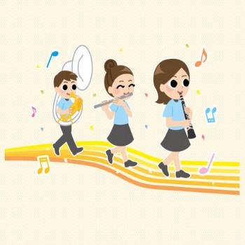 運動会の吹奏楽 | ファミリーイラストフリー素材
