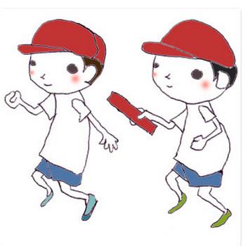 運動会(リレー)のボールペンイラスト02 <無料> | イラストK