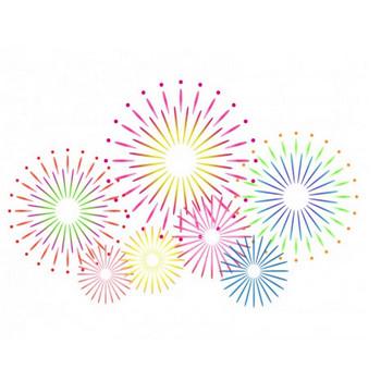 鮮やかに打ち上がった花火のイラスト素材 | イラスト無料・かわいいテンプレート