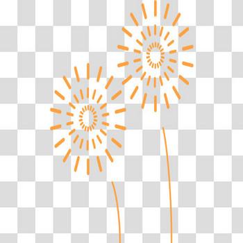 線だけの打上花火のフリーイラスト素材