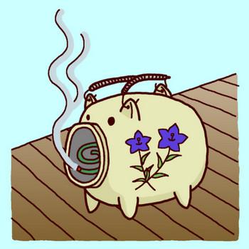 蚊取り豚(カラー)/無料イラスト/夏の季節素材