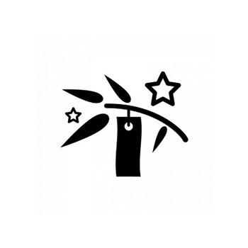 七夕飾りのシルエット02   無料のAi・PNG白黒シルエットイラスト