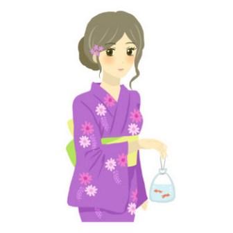 浴衣の女性の無料イラスト(夏祭り・金魚すくい・団扇): 無料の女性イラスト配布---GIRL'S ILLUST WEB(ガールズイラストウェブ)---