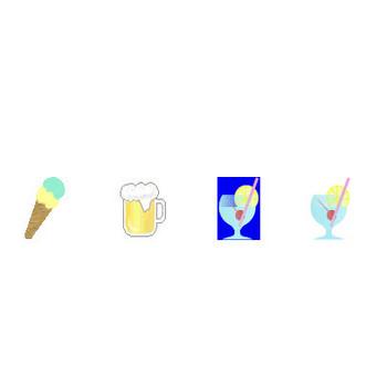 蝉・かき氷・麦わら帽子・金魚・ハイビスカス・西瓜~夏のアイコン・イラスト素材