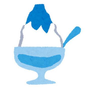 フリー素材 | ブルーハワイ味のかき氷を描いたフリーイラスト