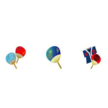 イラストポップのハガキ素材 | 無料暑中見舞いハガキ素材-夏の小物のイラスト