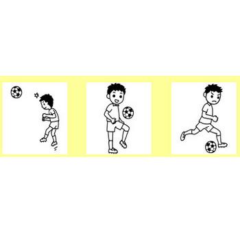 サッカー1/部活動・クラブ活動(運動部)/学校(小学校・中学校)無料イラスト【白黒イラスト素材】