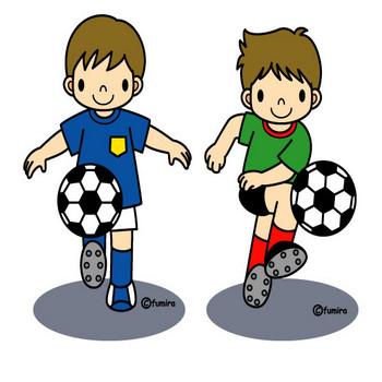 サッカー(カラー) | 子供と動物のイラスト屋さん わたなべふみ