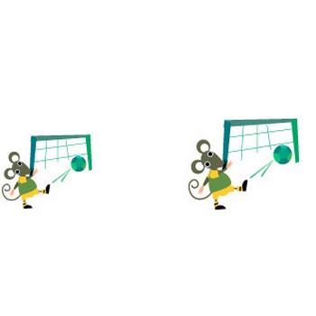 どうぶつイラスト素材 ネズミ / ネズミのサッカー 無料イラスト素材