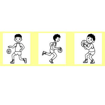 バスケットボール1/部活動・クラブ活動(運動部)/学校(小学校・中学校)無料イラスト【白黒イラスト素材】