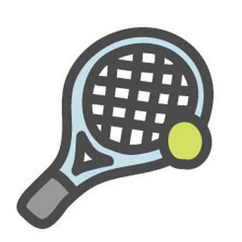 テニス(ラケット・ボール)のイラストアイコン | 可愛い絵文字アイコンイラスト『落書きアイコン』