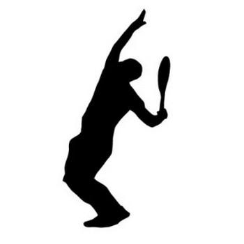 サーブを打つテニスプレーヤーの影絵イラスト | 【無料配布】イラレ/イラストレーター/ベクトル パスデータ保管庫【ai・eps ベクター素材】