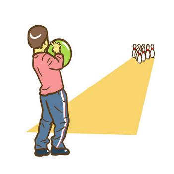 ボウリングをする子ども — シンプルイラスト・クリップアート「Drawing」