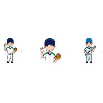 野球の無料イラスト(輪郭線有り)-イラストポップのスポーツクリップアートカット集
