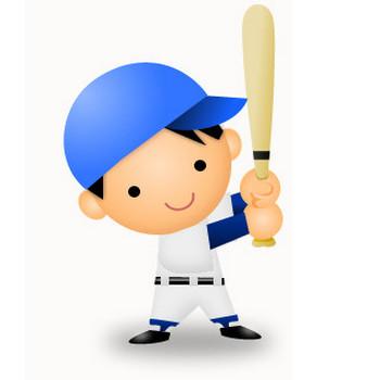 フリーイラスト素材 「バットを持つ野球少年」   Adobe Fireworks でアイコン・イラスト