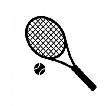 テニスラケットとボールのシルエット | 無料のAi・PNG白黒シルエットイラスト