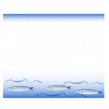 海の波間を泳ぐサンマのフレーム飾り枠イラスト | 無料イラスト かわいいフリー素材集 フレームぽけっと