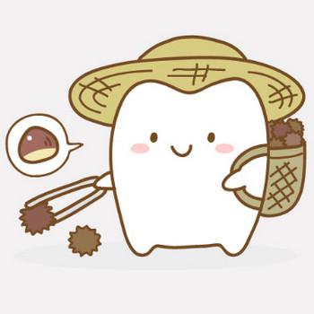 栗を拾う歯のキャラクター フリー歯科イラスト【歯科素材.com】