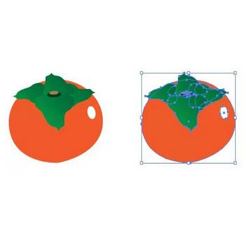 秋の果物、柿のイラスト   【無料配布】イラレ/イラストレーター/ベクトル パスデータ保管庫【ai・eps ベクター素材】