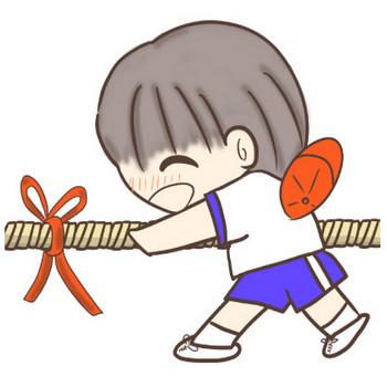 オーエス!オーエス!綱引きをする男の子のイラスト | ぴぴ