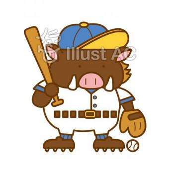 イノシシ野球   無料フリーイラスト素材集 ぱこすと