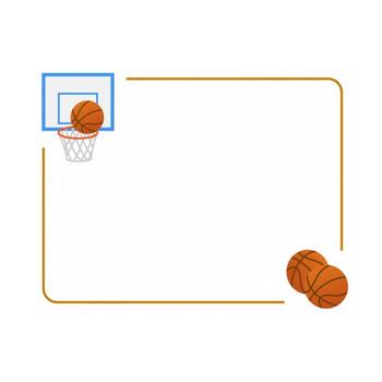 バスケットボールのフレーム飾り枠イラスト | 無料イラスト かわいいフリー素材集 フレームぽけっと