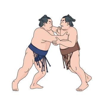 [無料イラスト] 相撲を取る力士 - パブリックドメインQ:著作権フリー画像素材集