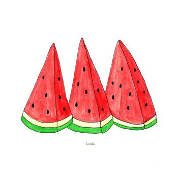 カットスイカ|夏 食べ物 | フリーイラスト素材 コムマール-sozai-