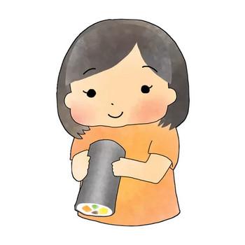 恵方巻きと女の子のかわいいイラスト画像素材(フリー、無料)