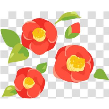 赤い椿のフリーイラスト素材