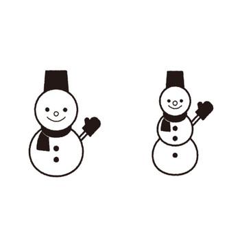 雪だるまの白黒フリー素材イラスト – KAGOのイラスト工房