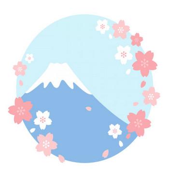 富士山と桜のイラスト素材 | 無料フリーイラスト素材集【Frame illust】