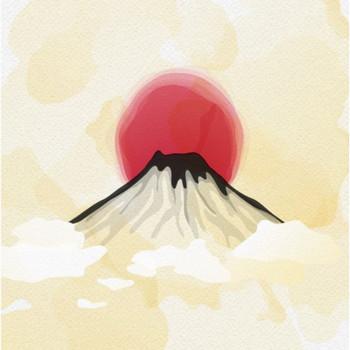 水彩画のスタイルで富士山 ベクター画像 | 無料ダウンロード