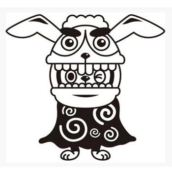 年中行事 獅子舞(うさぎ)(モノクロ) – 無料で使えるイラスト素材・PowerPointテンプレート配布サイト【素材工場】