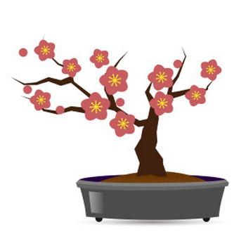 盆栽 梅 - フリーイラスト素材 「趣味で作ったイラストを配るサイト」