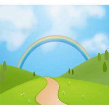 草原背景-虹と空:Gwやドライブなどに : フリーイラスト帳:ベクター画像&シルエット素材