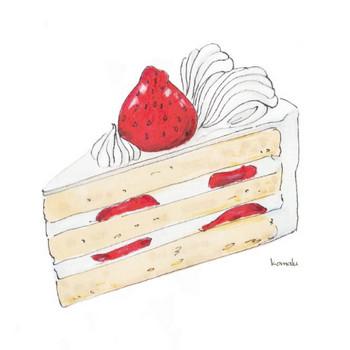 イチゴのショートケーキ | デザート ケーキ 生クリーム | フリーイラスト素材 コムマール-sozai-