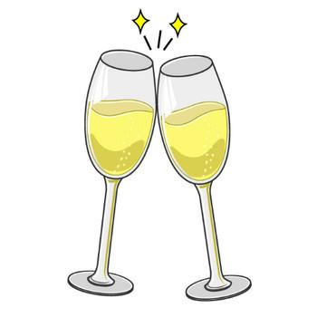 シャンパングラスの乾杯の無料イラスト素材|イラストイメージ