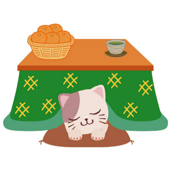 冬のイラストNo.245『コタツと猫とミカン』/無料のフリー素材集【花鳥風月】