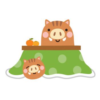 こたつでくつろぐ猪のイラスト   無料フリーイラスト素材集【Frame illust】