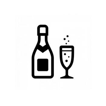 シャンパンのシルエット | 無料のAi・PNG白黒シルエットイラスト