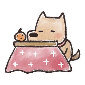 コタツでくつろぐ犬のイラスト(戌年): ゆるかわいい無料イラスト素材集