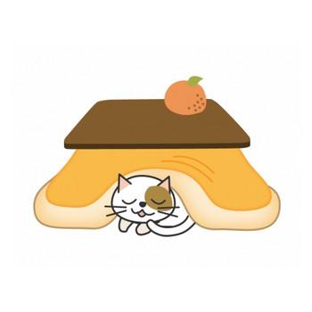 こたつとネコとみかんのイラスト素材   イラスト無料・かわいいテンプレート