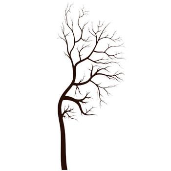 葉っぱや草木のイラスト・画像・フリー素材/白黒No.835『枯れ木 右側』