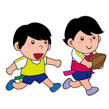 イラストポップ 学校のイラスト | 体育No24タグラグビーでボールを持って走る子と追いかける子の無料素材