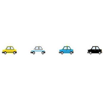 タクシー-乗り物の素材-イラストポップ