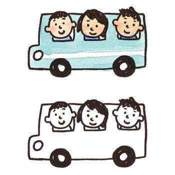 バス旅行・遠足のイラスト: ゆるかわいい無料イラスト素材集