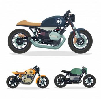 ヴィンテージカフェレーサーオートバイイラストセット ベクター画像 | 無料ダウンロード