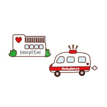 医療のかわいいの無料イラスト(病院と救急車)39312 | 素材Good