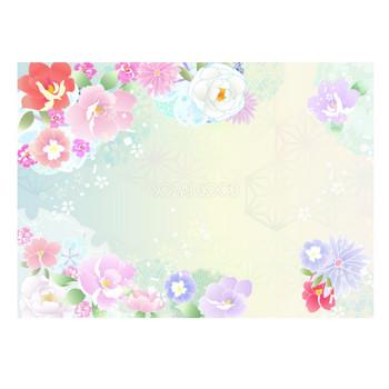 和風の牡丹フレーム冬イラスト飾り枠無料画像59993 | 素材Good